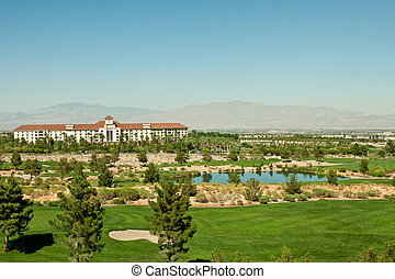 Resort Golf Clubhouse in Desert - A resort golf clubhouse on...