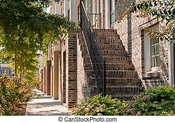 Rows of Brick Townhouse Steps
