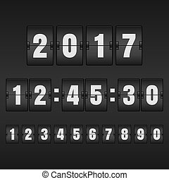 White countdown timer and mechanical scoreboard with different n