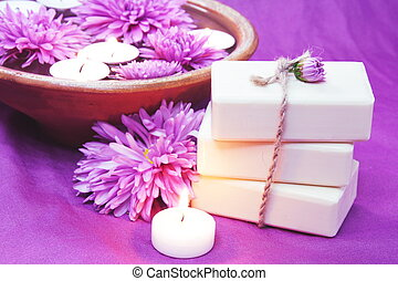 Herbal Soap, Aroma Bowl, Candles, Flowers Spa Set