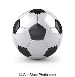 Glossy soccer ball - 3D illustration