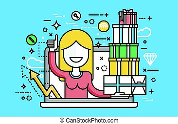 Vector illustration woman thumbs up laptop notebook with lot of shopping packing boxes of gifts design element marketing purchase, sale, discount, online store line art