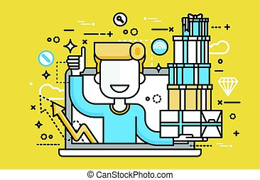 Vector illustration man thumbs up laptop notebook with lot of shopping packing boxes of gifts design element marketing purchase, sale, discount, online store line art