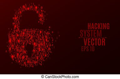Hacking system. An abstract lock from a binary code. The glowing numbers 0 and 1 are red. Programming in design. Scattered figures. Hackers broke the protection. Vector illustration