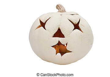 White jack o'lantern with lit candle - Jack o'lantern with...