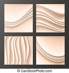 Wavy Silk Abstract Background Vector. Abstract Wavy Silk Backgrounds Set In Cream Color. Realistic Cream Wave Texture. Design Element For Wedding Invitation