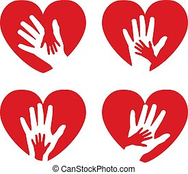 Set of icons with hands and hearts