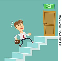A young businessman going upstairs steadily, a closed door...