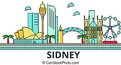 Sidney city skyline. Buildings, streets, silhouette,...