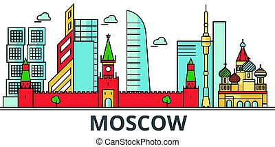 Moscow city skyline. Buildings, streets, silhouette,...