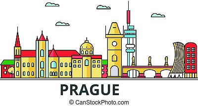 Prague city skyline. Buildings, streets, silhouette, architecture, landscape, panorama, landmarks. Editable strokes. Flat design line vector illustration concept. Isolated icons on white background
