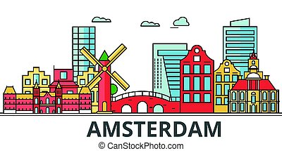 Amsterdam city skyline.