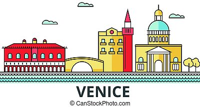 Venice city skyline. Buildings, streets, silhouette, architecture, landscape, panorama, landmarks. Editable strokes. Flat design line vector illustration concept. Isolated icons on white background