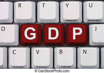 Research GDP on the internet, A close-up of a keyboard with...