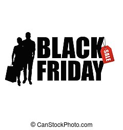 couple silhouette with black friday illustration