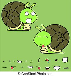 angry little snail cartoon expressions set - funny little...