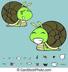 happy little snail cartoon expressions set - funny little...
