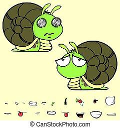 sad little snail cartoon expressions set - funny little...