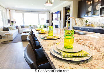 Abstract of Beautiful Kitchen Granite Counter Place Settings...