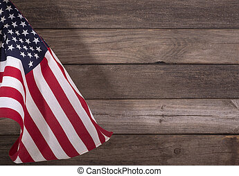 United States Flag - United States flag on a wooden...