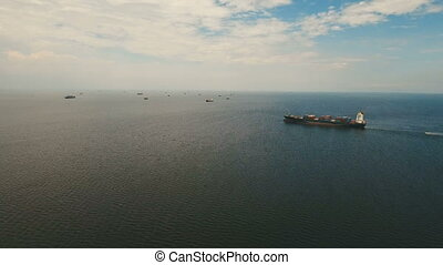 Aerial Cargo ships anchored in the sea. Philippines, Manila....