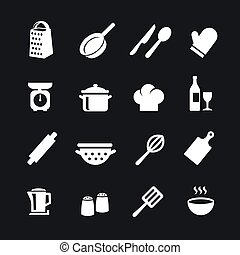 Set of kitchen tools silhouettes vector icons