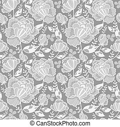Vector Silver Grey Decorative Roses and Leaves Seamless Repeat Pattern Background. Great for handmade cards, invitations, wallpaper, packaging, wedding designs.