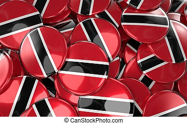 Trinidad and Tobago Badges Background. 3D Rendering