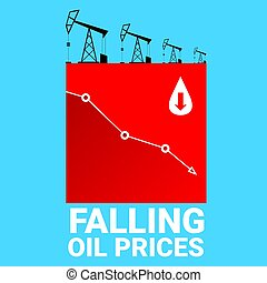 ... Oil price falling down graph illustration. vector.