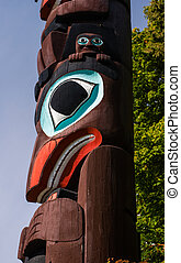 Indigenous people totem pole representing unique culture of the First nations