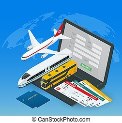 Online purchase or booking of tickets for an airplane, bus or train. Travel around the world and countries. Recreation and entertainment. Business trip. Vector isometric illustration