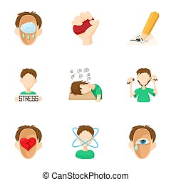 Emotional feelings icons set, cartoon style - Emotional...