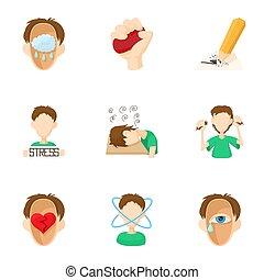 Emotional feelings icons set, cartoon style - Emotional...