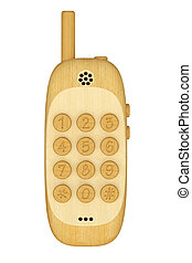 Wooden mobile phone isolated on white background High...
