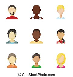Avatar people icons set, cartoon style - Avatar people icons...