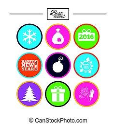 Christmas, new year icons. Gift box, fireworks. - Christmas,...