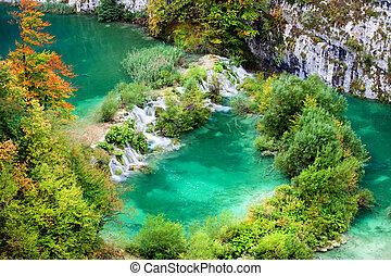 Autumn Landscape - Plitvice Lakes National Park autumn...