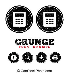 Calculator sign icon. Bookkeeping symbol. - Grunge post...