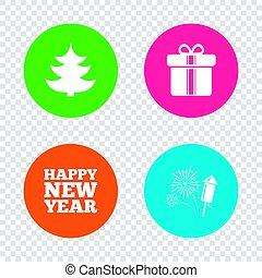 Happy new year sign. Christmas tree and gift box. - Happy...