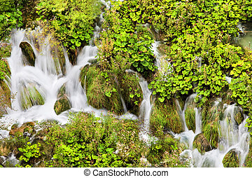 Water Cascade - Scenic cascade in the Plitvice Lakes...