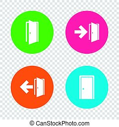 Doors signs. Emergency exit with arrow symbol. - Doors...