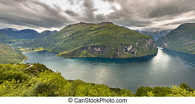 Panorama of Geirangerfjord seen from viewpoint in More og...