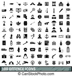 100 offence icons set, simple style - 100 offence icons set...