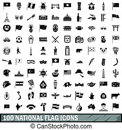 100 national flag icons set, simple style - 100 national...