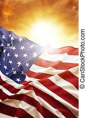 bandera, cielo