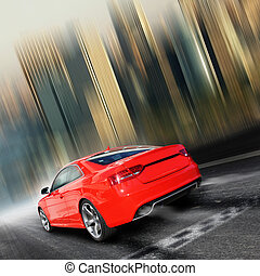 Race  - red sports car on a colorful background