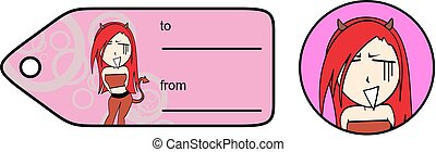 funny evil girl cartoon expression giftcard 8 - funny evil...