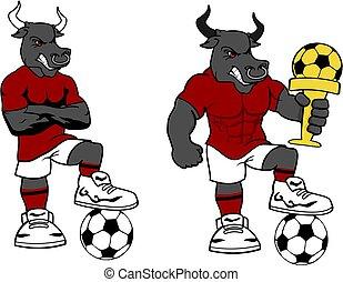soccer futbol strong bull cartoon set in vector format very...