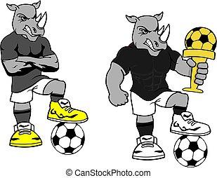soccer futbol strong rhino cartoon set in vector format very...
