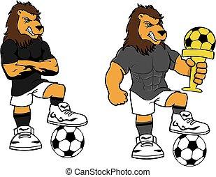 soccer futbol strong lion cartoon set in vector format very...